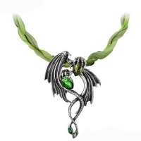 Collier Alchemy Gothic Emerald Dragon