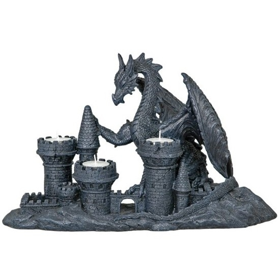 Bougeoir Dragon sur Château / Bougeoirs Dragons