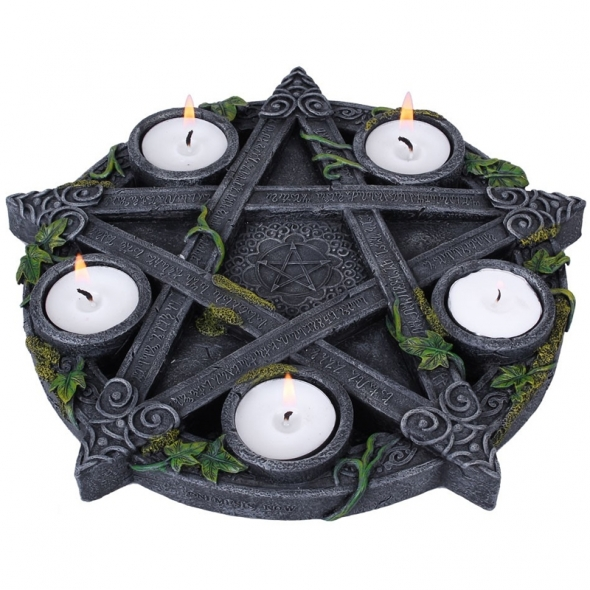 "Bougeoir ""Wiccan Pentagram"" / Décorations Celtiques"