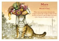 Carte Postale Severine Pineaux Chat Mars Mardi-Chat CPK083