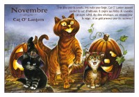 Carte Postale Severine Pineaux Chat Novembre Cat O'Lantern CPK091