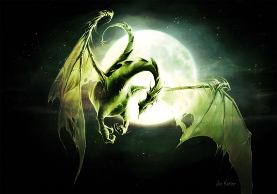 "Carte Postale Dragon ""Dragon Lune"" / Carterie Dragons"