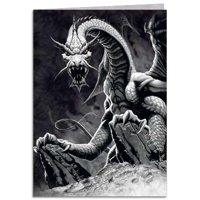 "Carte double avec enveloppe ""Black Dragon"" / Carterie Dragons"