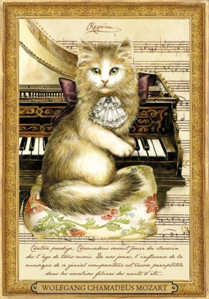 "Carte Postale Chat ""Wolfgang Chamadeus Mozart"" / Cartes Postales Chats"