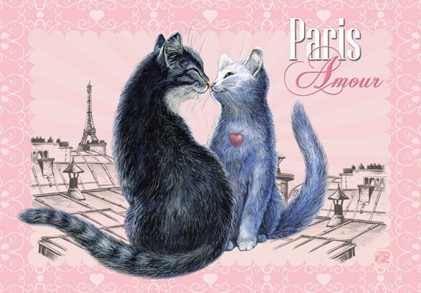"Carte Postale Chat ""Paris - Amour"" / Cartes Postales Chats"