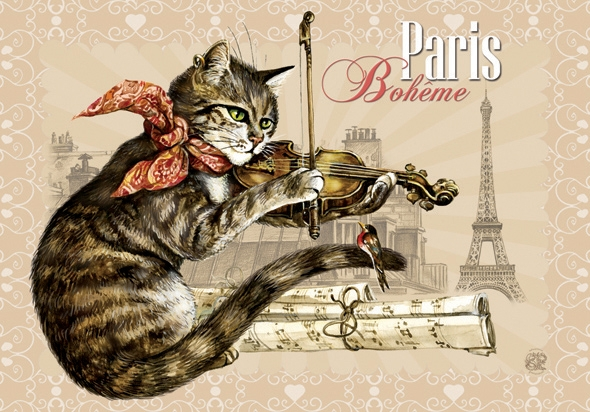 "Carte Postale Chat ""Paris - Bohême"" / Cartes Postales Chats"