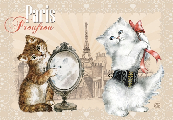 "Carte Postale Chat ""Paris - Froufrou"" / Carterie Chats"