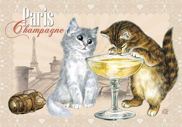"Carte Postale Chat ""Paris - Champagne"" / Cartes Postales Chats"
