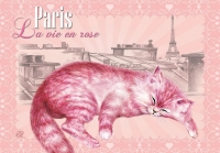 Carte Postale Severine Pineaux Chat Paris - La Vie en Rose CPK060