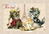 Carte Postale Severine Pineaux Chat Paris - Tea Time CPK064