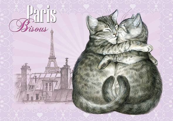 "Carte Postale Chat ""Paris - Bisous"" / Carterie Chats"