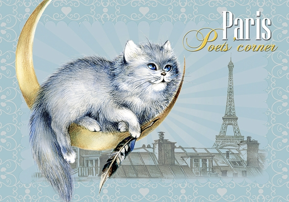 "Carte Postale Chat ""Paris - Poet's Corner"" / Cartes Postales Chats"