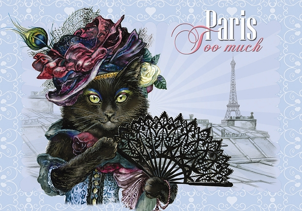 "Carte Postale Chat ""Paris - Too Much"" / Cartes Postales Chats"