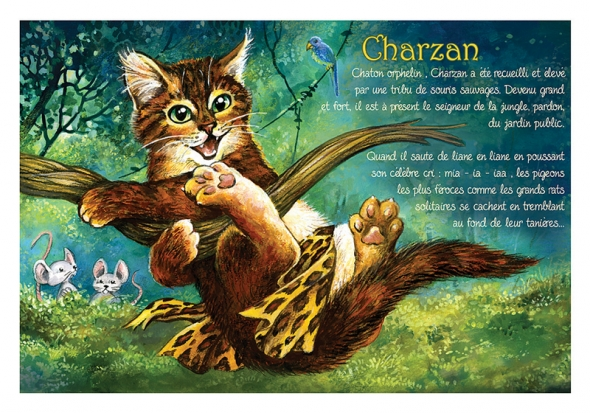 "Carte Postale Chat ""Charzan"" / Carterie Chats"