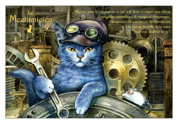 "Carte Postale Chat ""Le Méchanicien"" / Cartes Postales Chats"