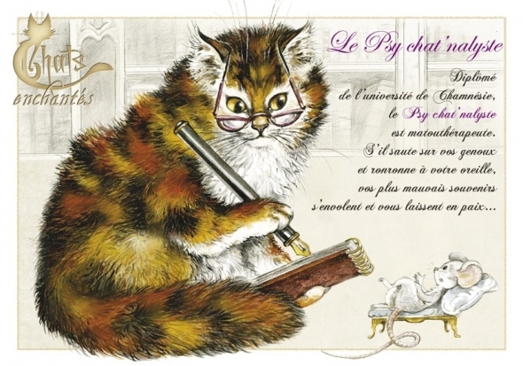 "Carte Postale Chat ""Le Psy chat'nalyste"" / Cartes Postales Chats"