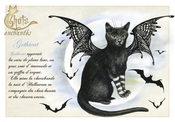 "Carte Postale Chat ""Gothicat"" / Séverine Pineaux"