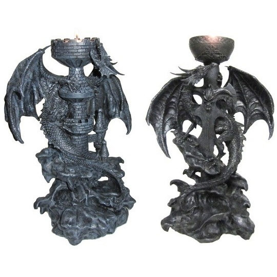 Chandeliers Dragons Noirs / Bougeoirs Dragons
