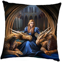 Anne Stokes coussin Fierce Loyalty
