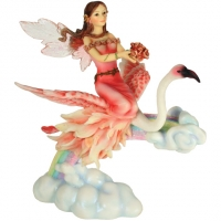 figurine de fée sur flamant rose flamingo