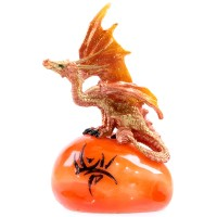 Figurine Dragon sur pierre tribale Orange