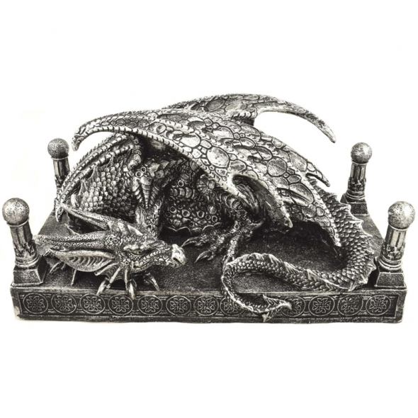 Dragon argenté couché / Statuettes Dragons