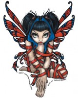 sticker fée red ribbon de jasmine becket griffith