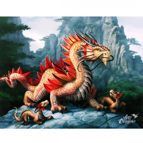 "Toile sur chassis ""Mountain Dragon"" / Décorations Murales Dragons"
