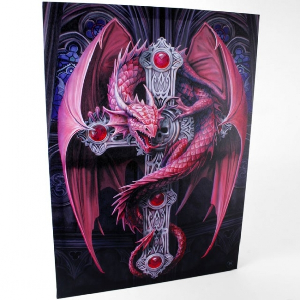 "Toile GEANTE sur chassis ""Gothic Guardian"" / Décorations Murales Dragons"