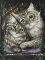 Linda M. Jones toile sur chassis Longing Cats