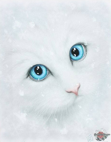 "Toile sur chassis ""Winter Cat"" / Linda M. Jones"